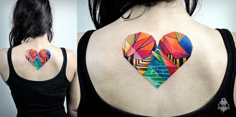 Geometric colorful heart tattoo #hearttattoo #graphictattoos #BreakOne