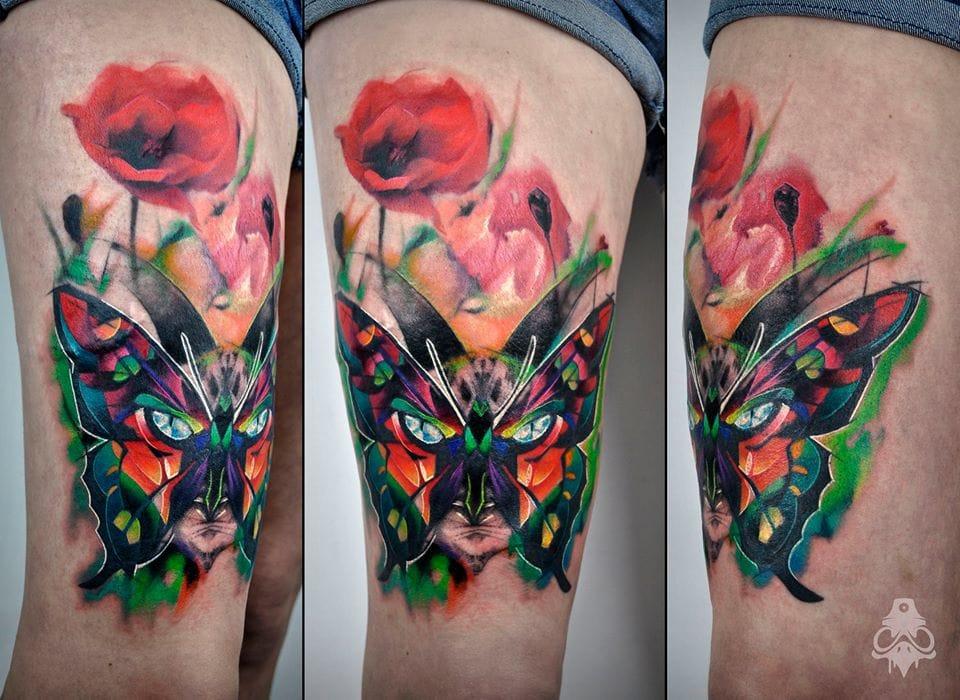 Cat-butterfly with flowers tattoo #butterflytattoo #flowertattoo #graphictattoos #BreakOne