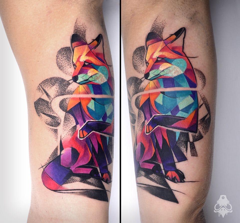 Awesome geometric fox tattoo #foxtattoo #graphictattoos #BreakOne