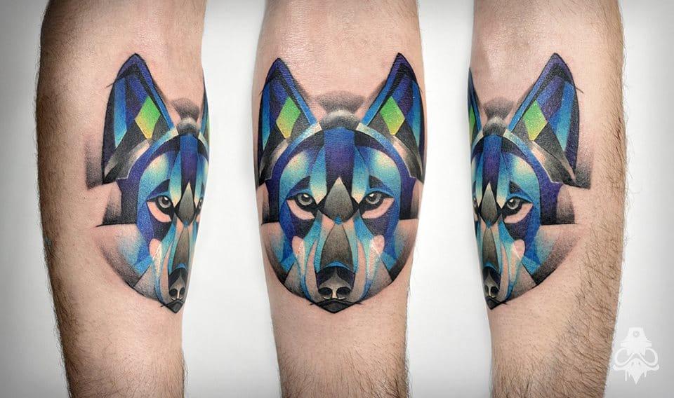 Geometric wolf tattoo #wolftattoo #graphictattoos #BreakOne