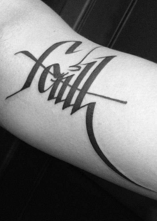 """Faith"" by Joao Chavez. Calligraphy is beautiful, both on paper and on skin, especially for simple yet strong words."
