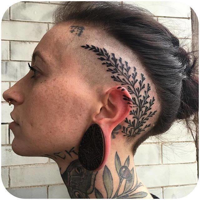 Blackwork head tattoo by Esther Garcia(@butterstinker) #EstherGarcia #blackwork #headtattoo