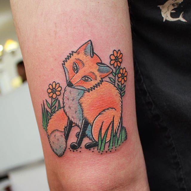 Cute little fox tattoo (IG @sashimi_roll_tattooing) #SashaMezoghlian