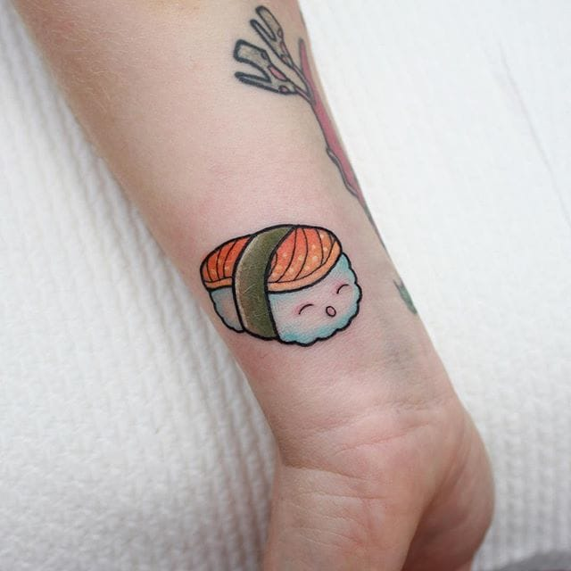Uni, Salmon, or Spam Musubi? We'll take it. (IG @sashimi_roll_tattooing) #SashaMezoghlian