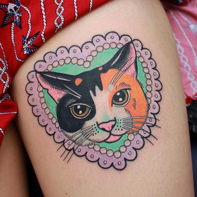 Traditional kitty portrait made by Sasha (IG @sashimi_roll_tattooing) #SashaMezoghlian