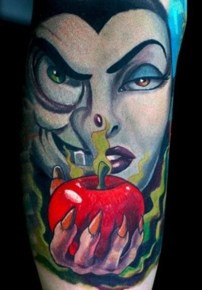 Full color tattoo of The Witch with the poisoned apple by Off The Map Tattoo.