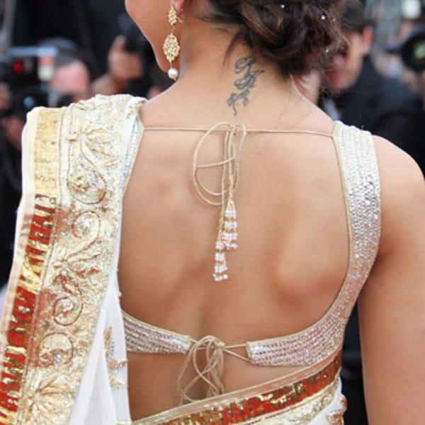 Padukone's feminine neck tattoo. #DeepikaPadukone #necktattoo