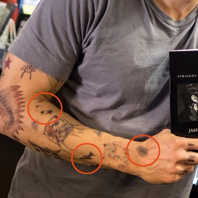 Got some smudges there, buddy. #JamesFranco #temporarytattoos