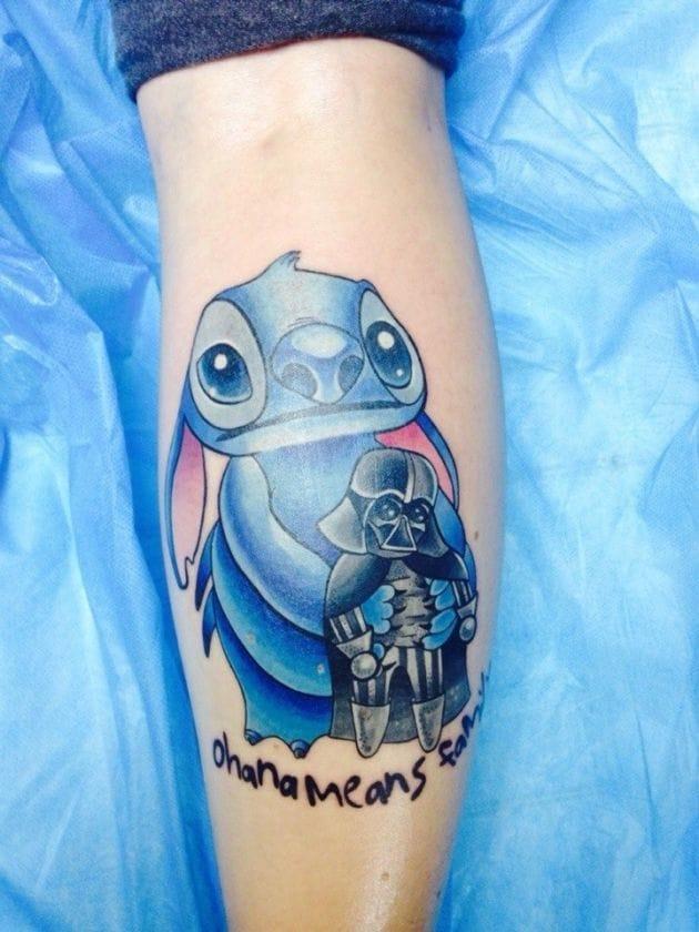 Stich and Darth Vader tattoo. Artist unknown.