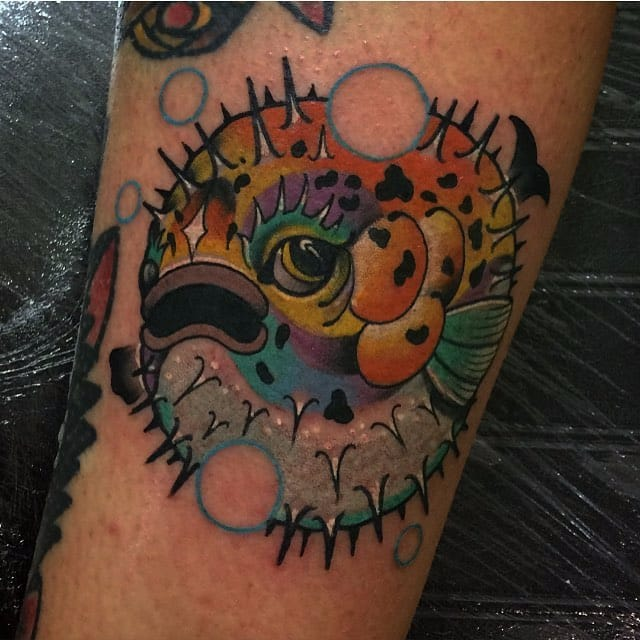 10 Funky Pufferfish Tattoos