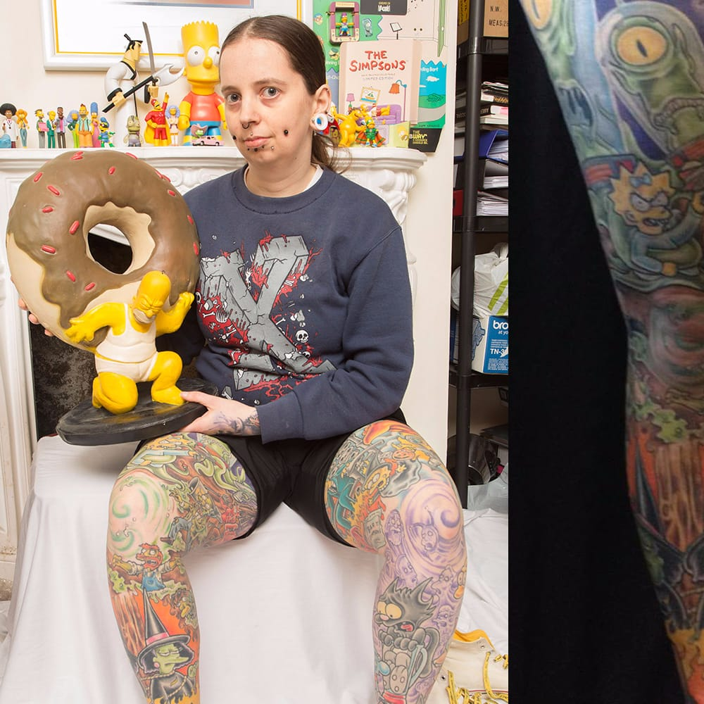 Simpsons Superfan Spent £12,000 Covering Legs In Springfield's Finest!