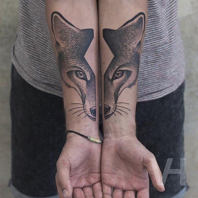Split fox tattoo #ValentinHirsch #foxtattoo #symmetrical