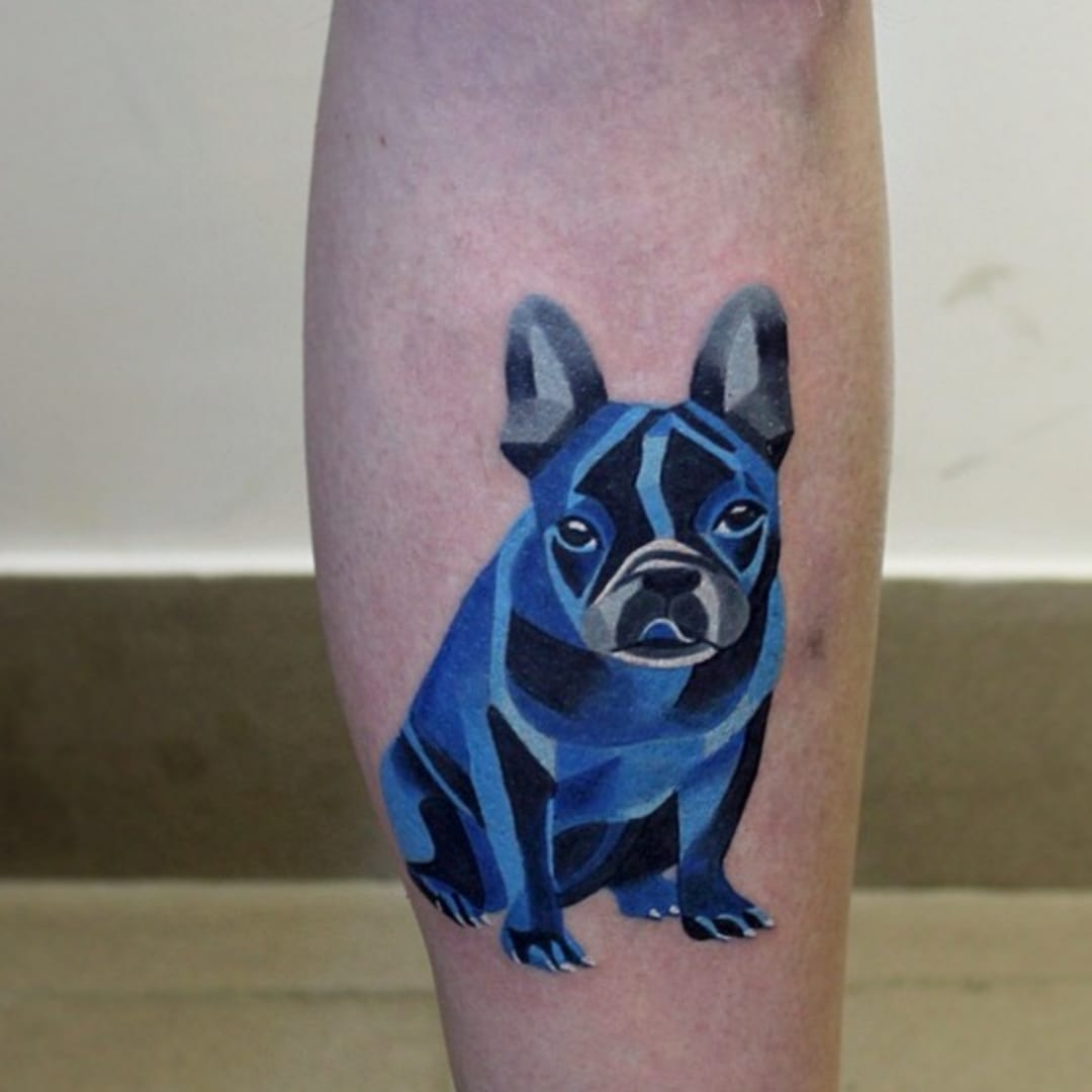 Fresh French Bulldog tattoo made without outlines, with use of black shading, made by Sasha Unisex #SashaUnisex #watercolor #frenchbulldogtattoo