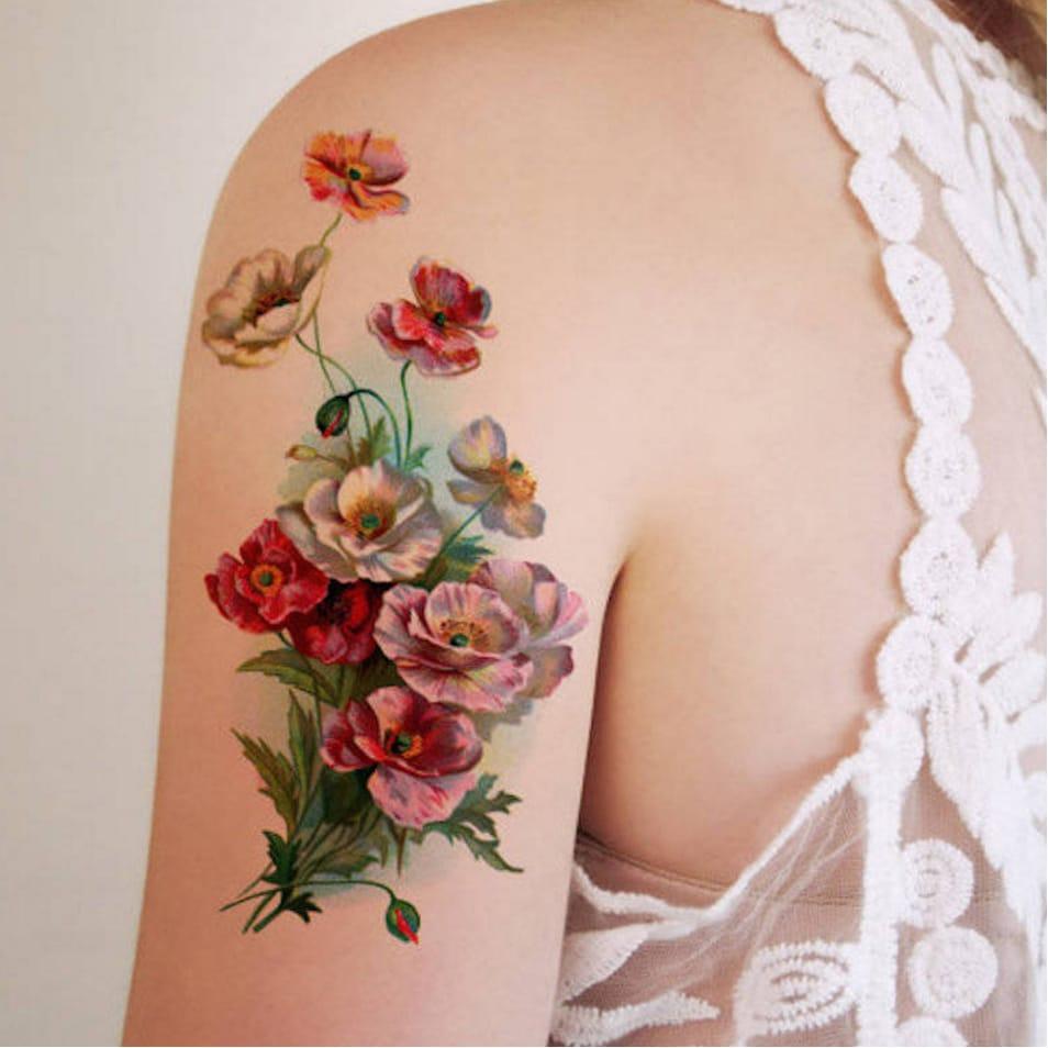 via Tattoorary  #temporarytattoo #flowers