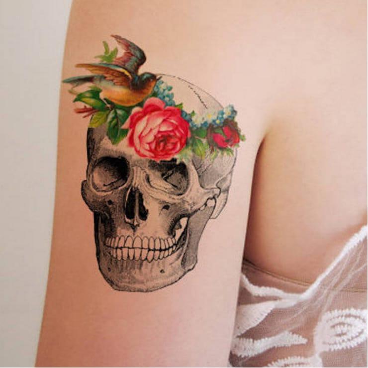 via Tattoorary  #temporarytattoo #skull