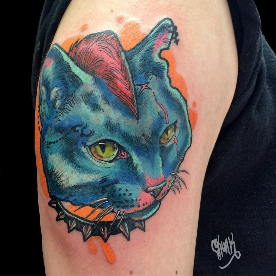 28 Cool And Vibrant Cat Tattoos For Kitty Lovers