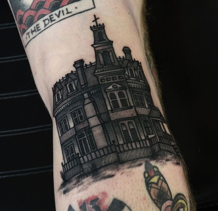Adam's family house by Philip Yarnell of Skynyard Tattoo in London, UK.