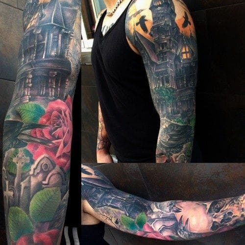 Haunted house sleeve by Jose Gonzales of Ink-in Tattoo in Marbella, Spain.
