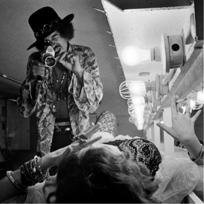 Iconic photo by Jim Marshall of Jimi Hendrix filming Janis Joplin while partying together in the 60s. #jimmarshall #janisjoplin