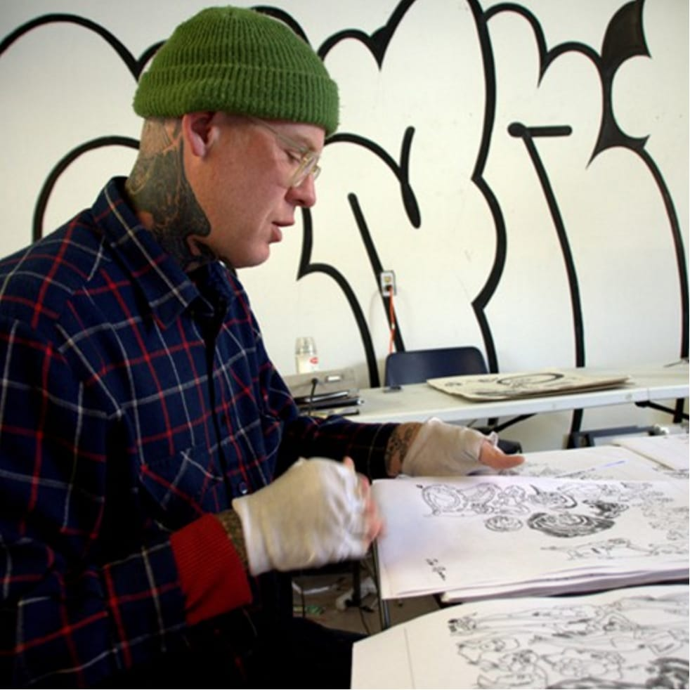 Artist Mike Giant at work.. #work #MikeGiant #artist