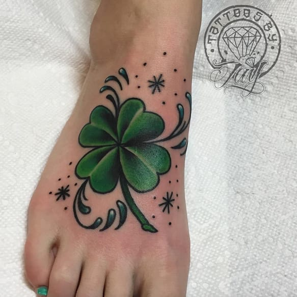 Colourful And Contrasting Clover Tattoos