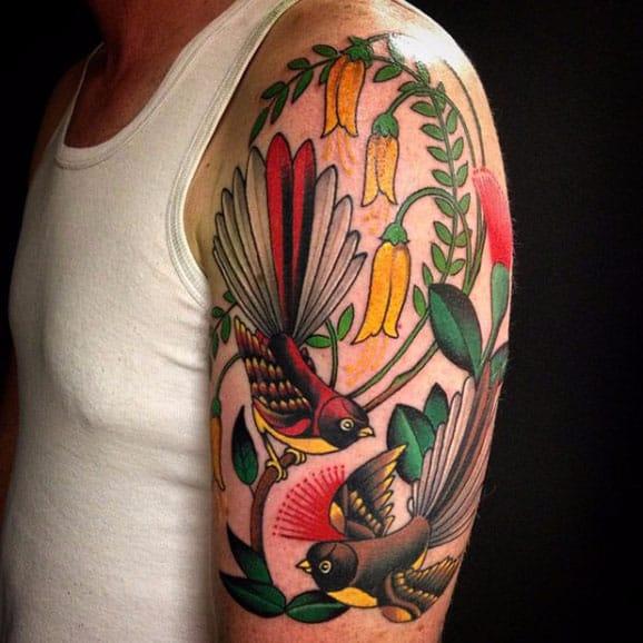 14 Majestic Kiwiana Tui and Fantail Bird Tattoos