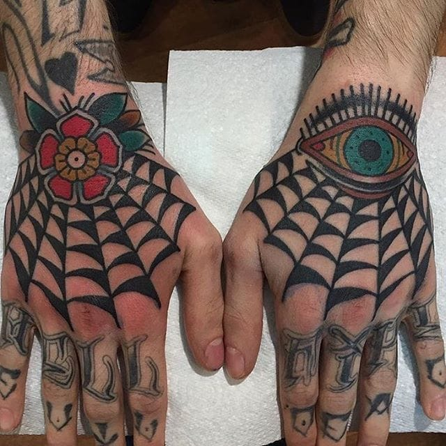 8 Solid Spider Web Hand Tattoos