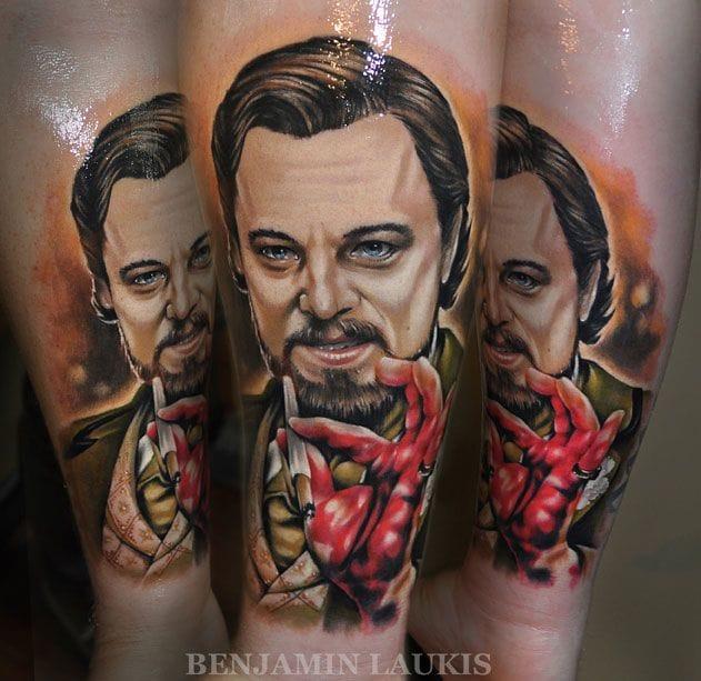 Django Unchained... Leo didn't get an Oscar but at least he got a tattoo!