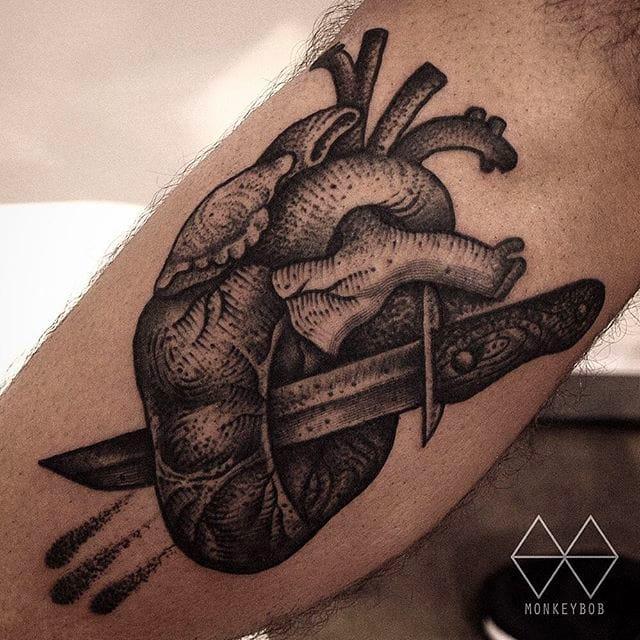 Black Tattoos Of Sharp Objects By Monkey Bob