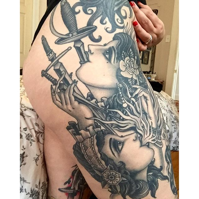 Sword swallowing sideshow babes by Grez #sideshow #carnie #traditionaltattoo #grez