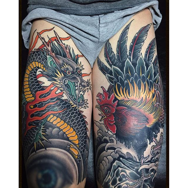 Beautiful Dragon & Rooster on the thigh #dragon #rooster #traditionaltattoo #grez
