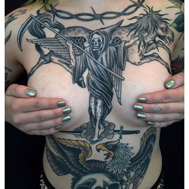 Death on a Shadow Horse #reaper #death #horse #eagle #traditionaltattoo #grez