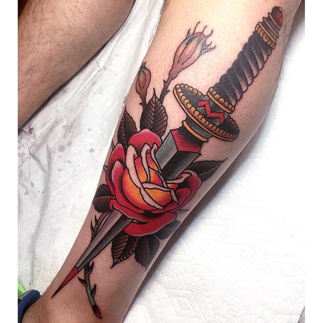 Dagger & Rose special #dagger #rose #traditionaltattoo #grez