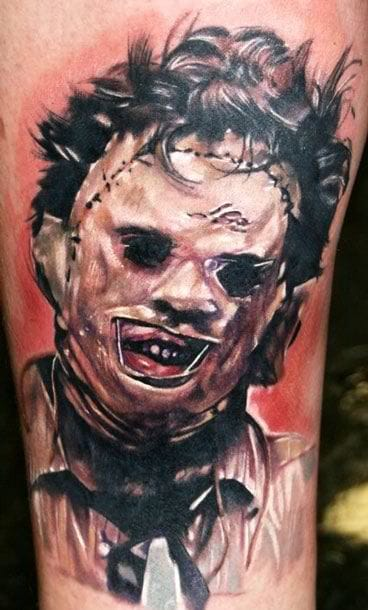 Leatherface tattoo by Ron Russo