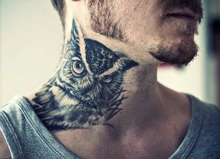Realistic Owl neck piece. Artist unknown.