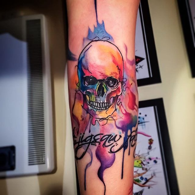 Watercolor Skull Tattoos That Are to Die For