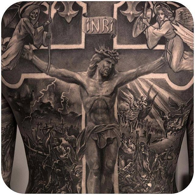 Niki Norberg always killing it. (Instagram: @niki23gtr) #realistic #blackandgrey #religious #backpiece #nikinorberg