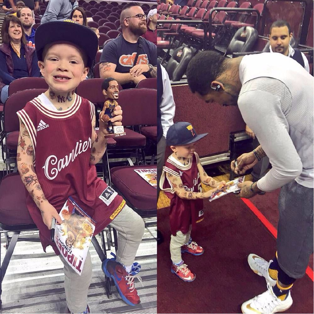 Kid Covers Himself in Temporary Tattoos to Meet NBA Baller J.R. Smith