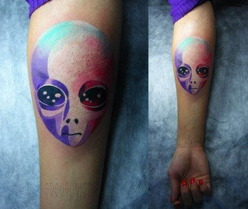 It doesn't always have to be gruesome. Here's some cool & poppy colors for the ladies! Tattoo by Sasha Unisex