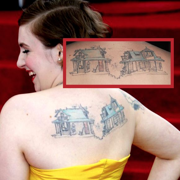 Awesome pair of houses tattooed on her back #house #sketchtattoo #lenadunham
