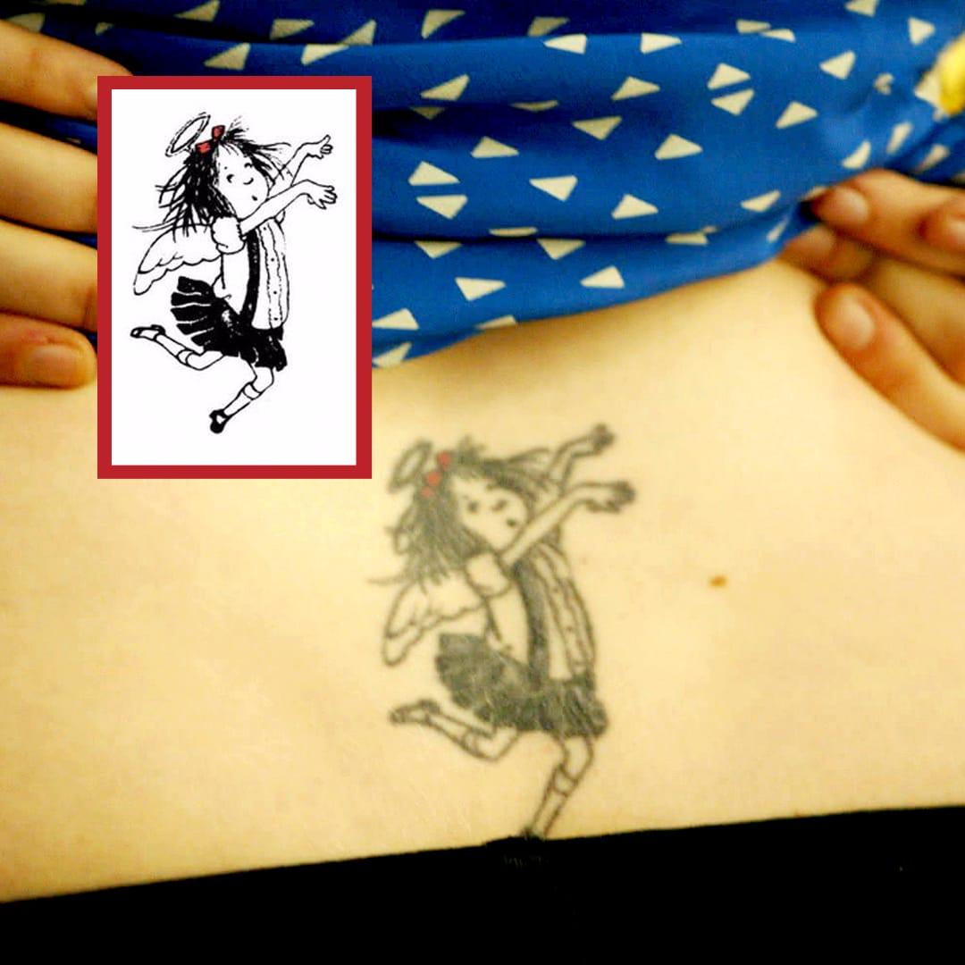 Her first tattoo, Eloise from her favorite children's book #lowerback #Eloise #childrenbook #drawing #lenadunham