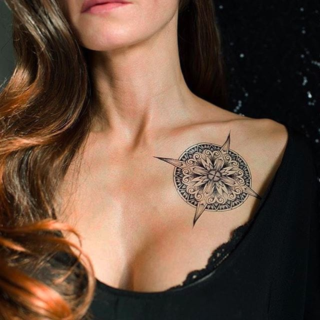 Temporary compass tattoo by Sasha Masiuk #compass #compasstattoo #SashaMasiuk #sashatattooing #linework #temporarytattoo #dotwork