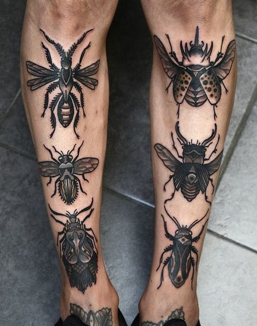 Something's definitely buggin' this guy. Tattoos by Philip Yarnell.