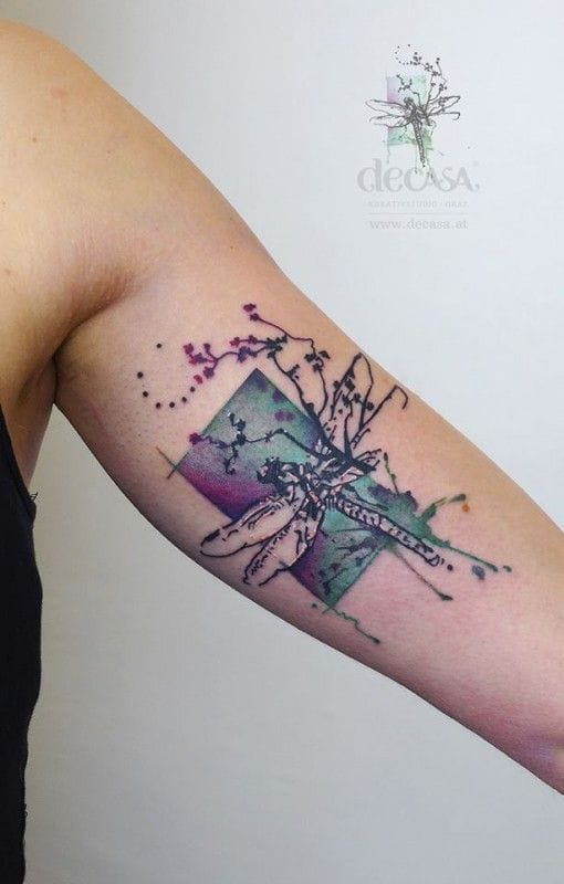 Here's a new watercolor tattoo artist to watch out for! Tattoo by Carola Deutsch.