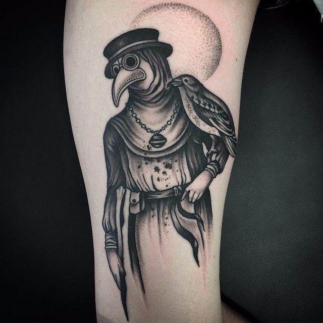 10 Ominous Blackwork Plague Doctor Tattoos