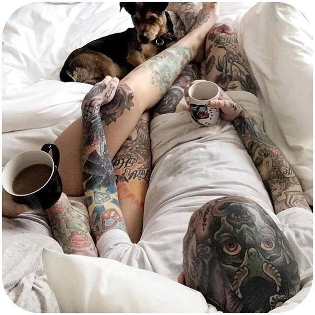 and their morning oasis are currently our #relationshipgoals. Coffee, pups, the little things. (Instagram: @katie.c.allen & @charlieholmes) #tattoodobabes