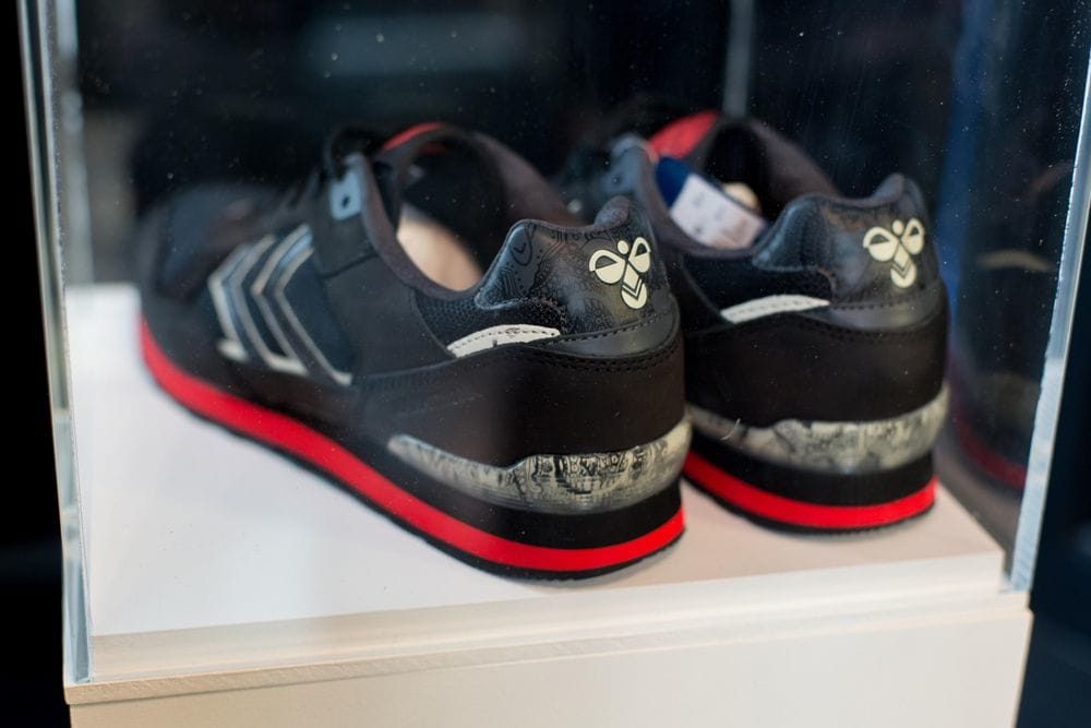 Close up of the new Hummel x Tattoodo sneakers. The skull design is incorporated on the insole and at the heel.