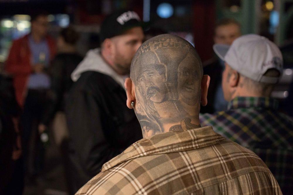 Awesome scalp tattoo on tattoo collector David Prieto.