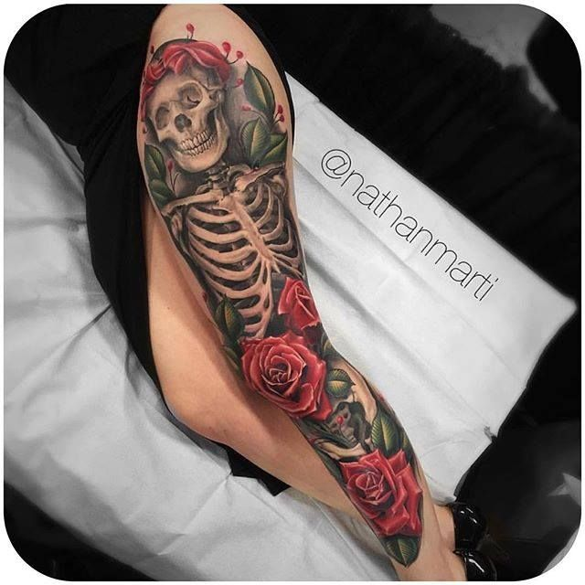 Realistic Skeleton & Roses. (Instagram: @nathanmarti) #realistic #skeleton #rose #legsleeve