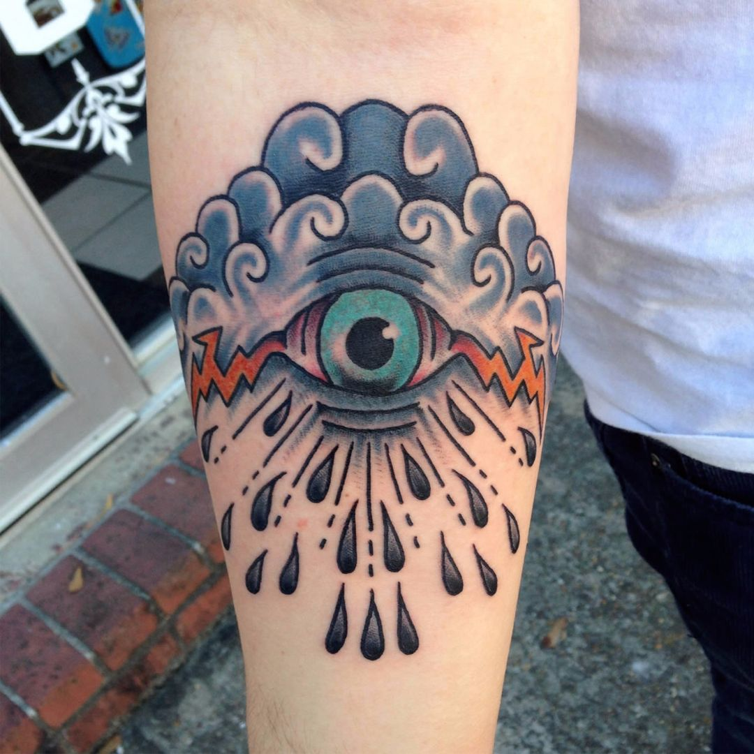 Tattoo by David Wilson #Eye #allseeingeye #storm #color #DavidWilson